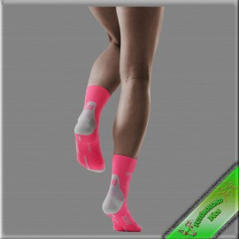 CEP kompressziós rövidszárú  futózokni női pink-szürke