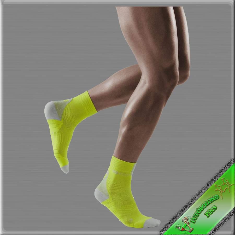 CEP kompressziós rövidszárú  futózokni férfi lime